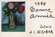 Isis Kischka : carte de voeux pour 1958 et lithographie originale. Kischka, Isis