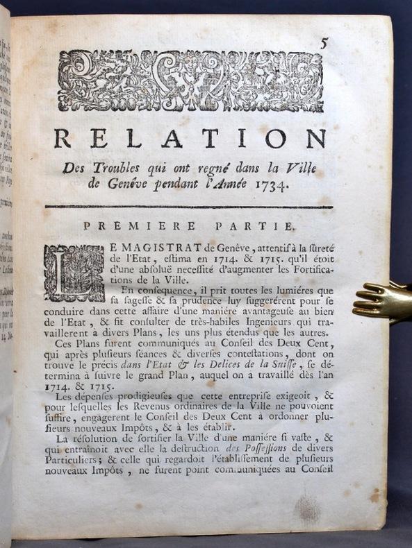 Relation des troubles qui ont regné dans la Ville de Genève pendant l'année mil sept cens trente-quatre.