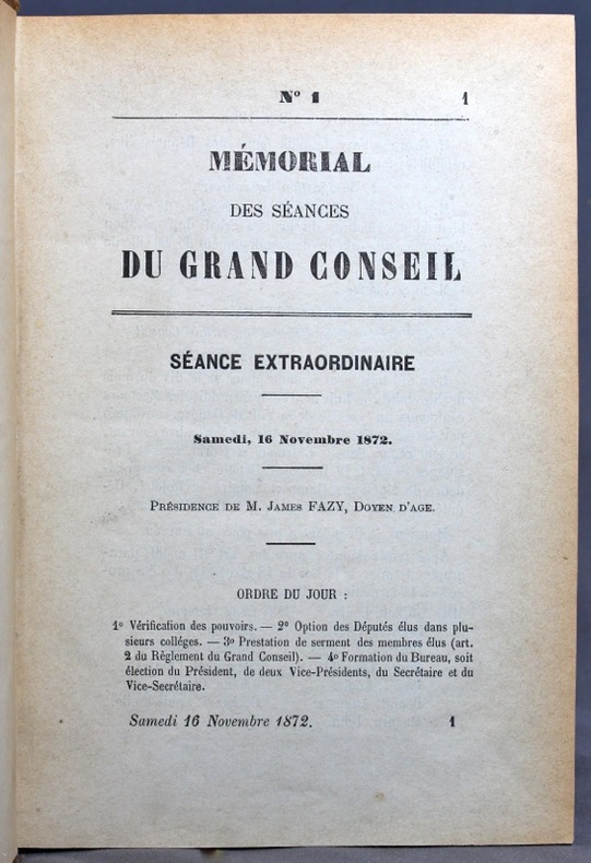 Mémorial des séances du Grand Conseil. 16 novembre 1872 - 26 février 1873.
