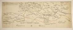 Bourgogne - Carte manuscrite de la Bourgogne faisant frontière de la Suisse (avec le num. N° 37). Partie du Comté de Bourgogne qui a été extraite ...