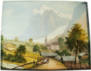 Vue de Grindelwald, avec Glacier. . Anonyme.-