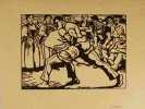 Les lutteurs. Gravure sur bois.. BIÉLER, Ernest (1863-1948):