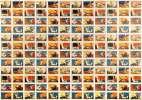 N.P.C.K. Musterbogen / Impression d'essai. 12x12 (144) images de la série Les écritures (dont 3 séries de 4x12 = 48 différentes images en couleurs)..