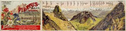 Pilatus - Bahn bei Luzern Zahnradbahn von Alpnach-Stad. Chemin de Fer à Crémaillère. Faltbl. Fahrplan / Time Table - Horaire 1909. .