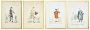 Angleterre, England. Costumes. - 1) Yeoman de la garde Royale / 2) Hérault d'Armes / 3) Invalide de Chelsea / 4) Inspecteur des poids et mesures. 4 ...