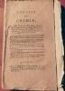 ANNALES DE CHIMIE . Tome 73. deuxième cahier. . GUYTON.  MONGE. BERTHOLLET. FOURCROY. ADET. HASSENFRATZ. DEGUIN. VAUQUELIN. A.C. PRIEUR. CHAPTAL. ...