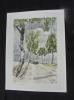 Aquarelle originale de Vaubourg : L'allée des bouleaux. Vaubourg Paul