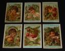 Lot de 6 chromos XIXe : Enfants et fruits. Collectif