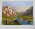 Lithographie : Bagnoles-de-l'Orne, Les Vallées d'Antoigny : la pêche aux écrevisse (J. Gaildrau). Tirpenne J. L., Gaildrau Jules