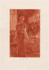 Le Pendu dans la forge (vernis mou et pointe sèche, 2e état, tiré en sanguine). Rops, Félicien