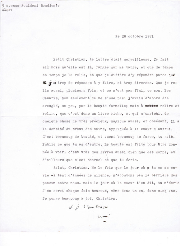 Lettre dactylographiée signée à l'écrivain Christian Maurel (Alger, 29 octobre 1971). Arnaud, Georges (pseudonyme de Henri Girard) - (1917-1987, ...