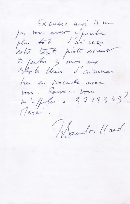 Lettre autographe signée à l'écrivain Christian Maurel . Baudrillard, Jean (1929-2007, philosophe)