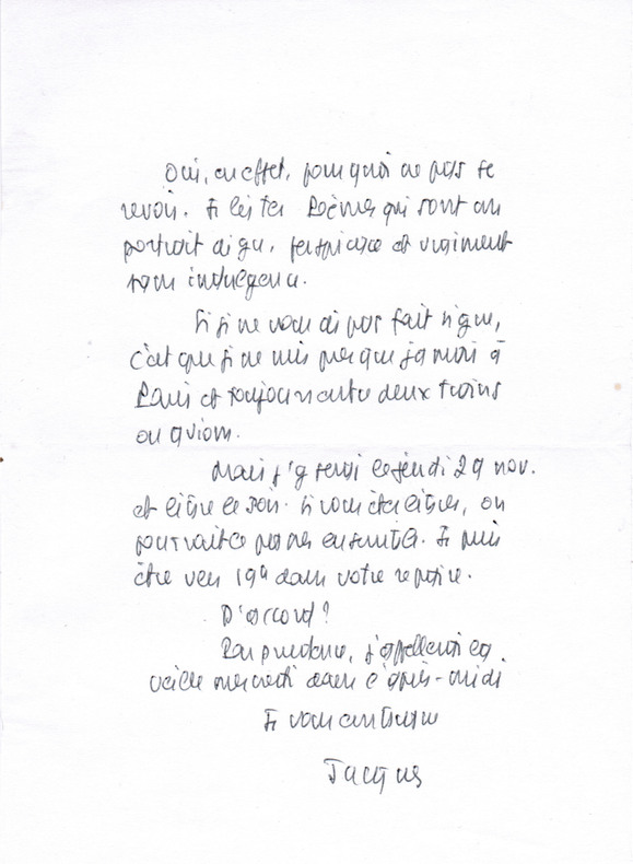 Lettre autographe signée à l'écrivain Christian Maurel. Lacarrière, Jacques (1925-2005, écrivain)