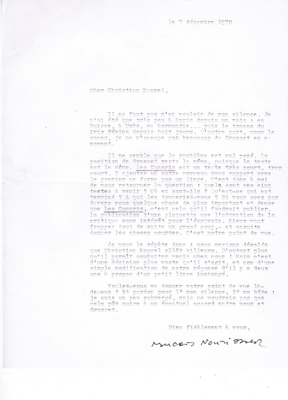 Lettre tapuscrite signée à l'écrivain Christian Maurel [7 décembre 1970]. Nourissier, François (1927-2011, écrivain)