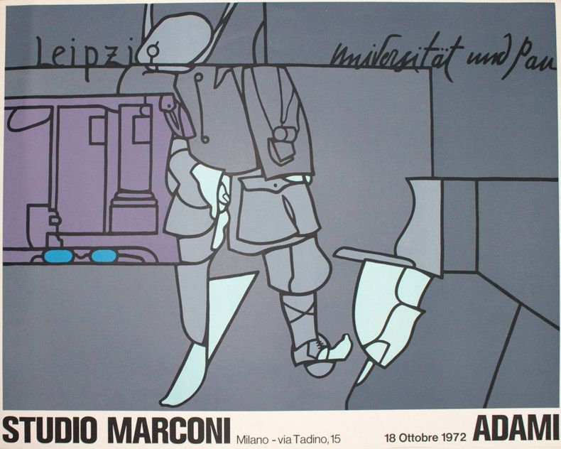 [Affiche :] Leipzig universität und Pan. Studio Marconi, Milano, 18 Ottobre 1972. Adami, Valerio
