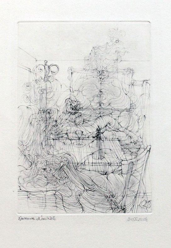 [Gravure] Frontispice pour Le Con d'Irène [épreuve d'artiste signée]. Bellmer, Hans - [Louis Aragon]