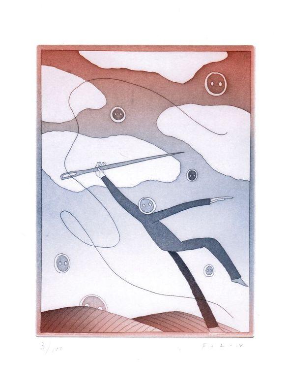 Gravure originale signée (eau-forte et aquatinte) : De fil en aiguille. Folon, Jean-Michel