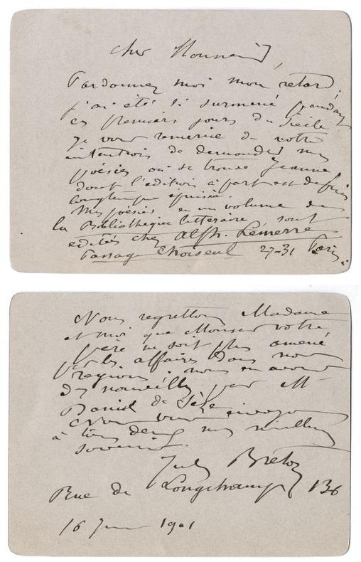2 billets autographes signés à Jean-Paul Brunet à propos de sa poésie, 1901. Breton, Jules (peintre et poète français, 1827-1906)