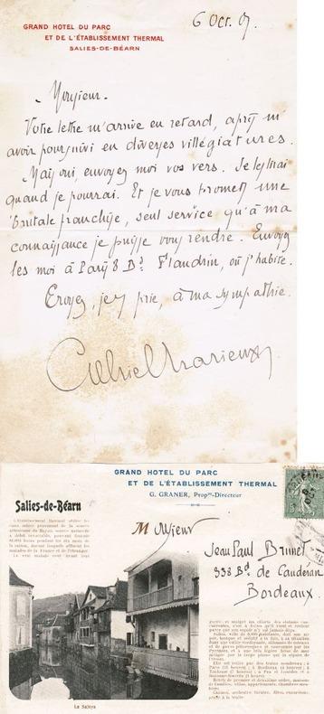 Lettre autographe signée, datée du 6 octobre 1901 sur papier à en-tête du Grand hôtel du parc et de l'établissement thermal de Salies-de-Béarn. ...