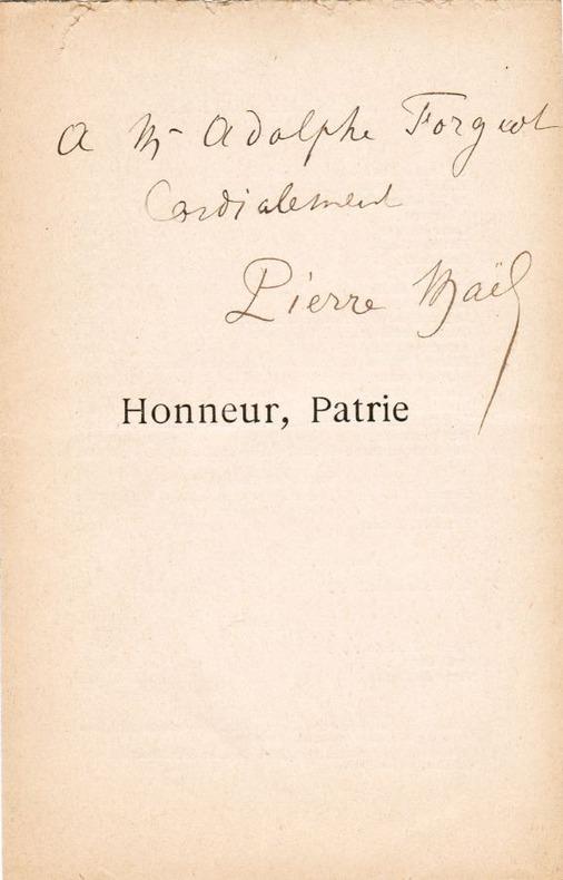 Envoi autographe signé Pierre Maël [Charles Causse] sur le faux-titre de Honneur, Patrie (Paul Ollendorff, 1893). Maël, Pierre [pseudonyme collectif ...