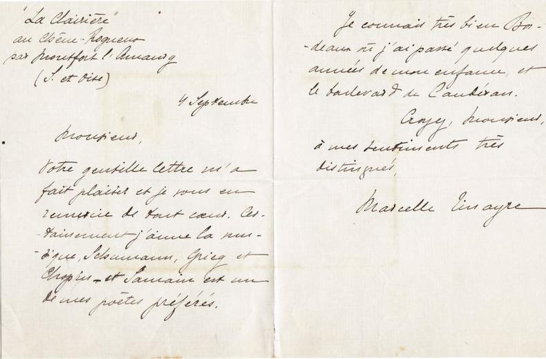Lettre autographe signée [ca 1906]. Tinayre, Marcelle (écrivain français, 1870-1948)