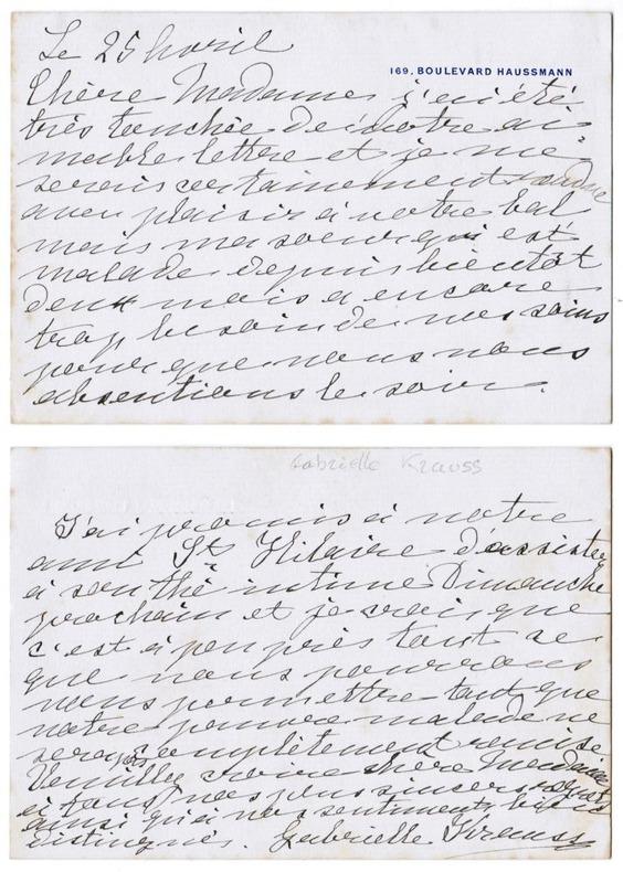 Lettre autographe signée. Krauss, Gabrielle (cantatrice soprano d'origine autrichienne, 1842-1906)