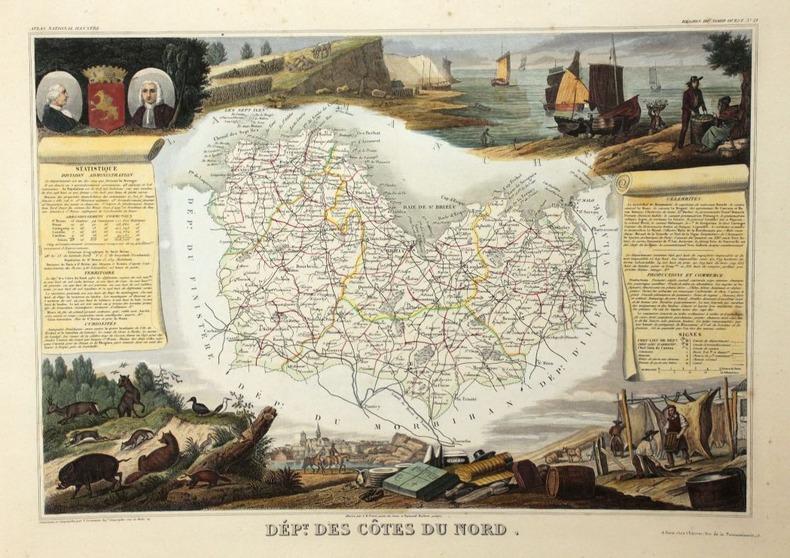 Carte du Département des Côtes du Nord (Bretagne), région du Nord Ouest, n° 21.. [Bretagne] - [Carte du département des Côtes du Nord] - Levasseur, ...