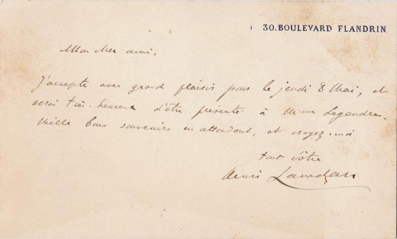 Billet autographe signé. Lavedan, Henri (journaliste et auteur dramatique, 1859-1940)