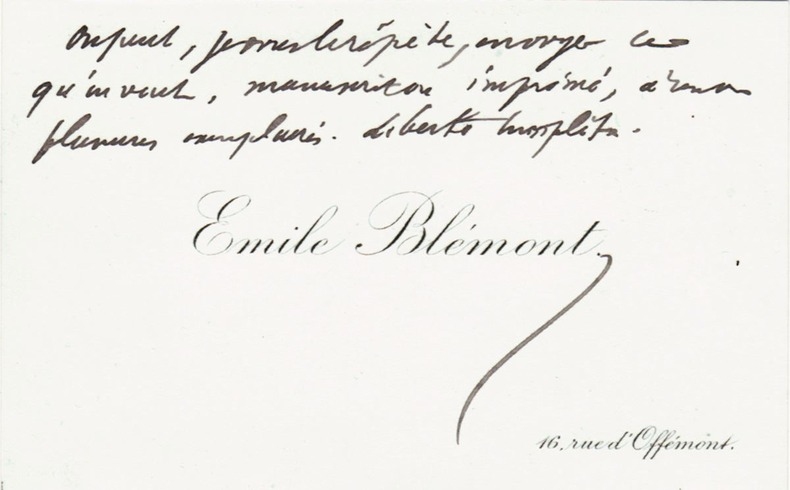 Billet autographe sur carte de visite. Blémont, Emile (1839-1927)