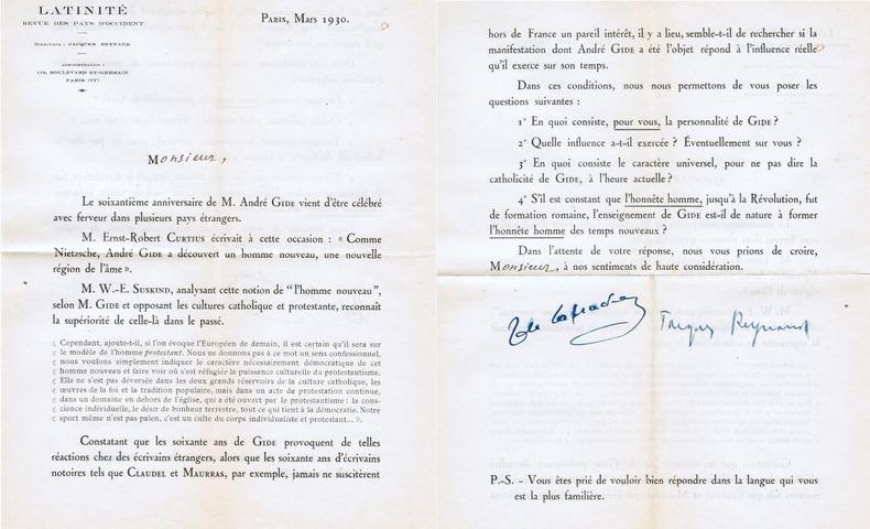 Questionnaire pour l'Enquête sur André Gide de la revue Latinité, signé par Jacques Reynaud et Jacques-Victor de Laprade. [Gide, André] - [Revue ...