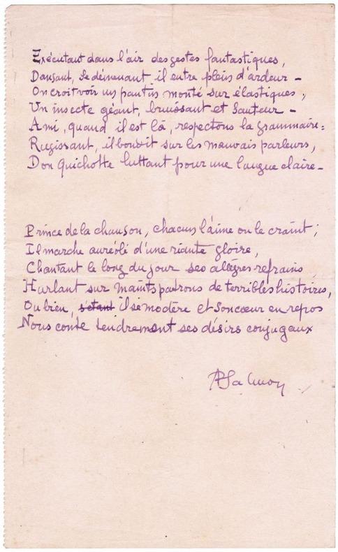 [Manuscrit] Poème autographe signé : acrostiche sur le nom de Edouard Pichon. Salmon, André (1881-1969)