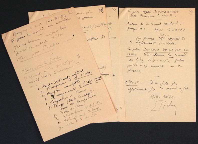 [Manuscrit autographe signé] Plan pour la publication de ses oeuvres. Pichon, Edouard (1890-1940, médecin, psychanalyste et grammairien français)