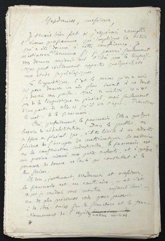 """[Manuscrit autographe inédit] """"Psychologie et linguistique"""", conférence donnée à Caen le 11 février 1932. Pichon, Edouard (1890-1940, médecin, ..."""