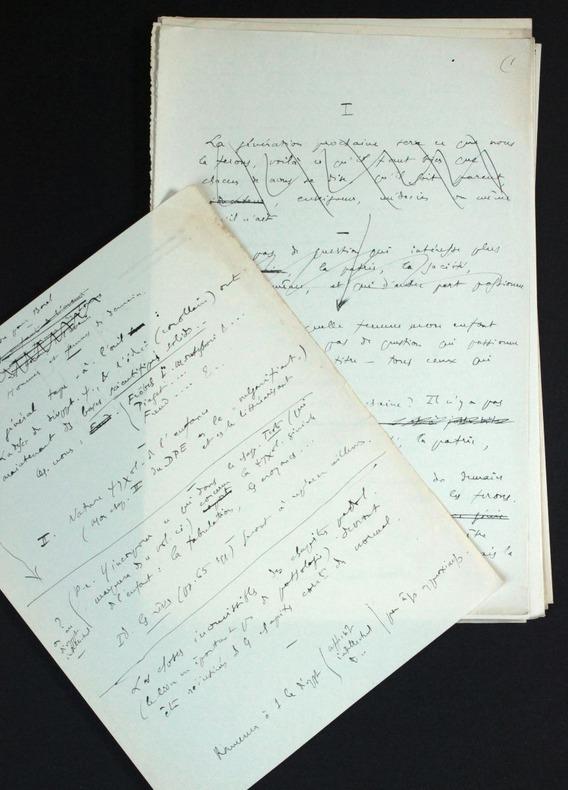 """[Manuscrit autographe inédit] Ebauche d'un livre sur la pédagogie : """"Hommes et femmes de demain"""". Pichon, Edouard (1890-1940, médecin, psychanalyste ..."""