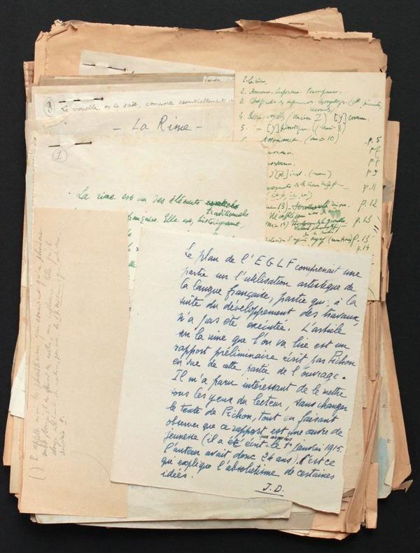 """[Manuscrit autographe inédit] """"La rime"""". Pichon, Edouard (1890-1940, médecin, psychanalyste et grammairien français) - Damourette, Jacques (1873-1943, ..."""