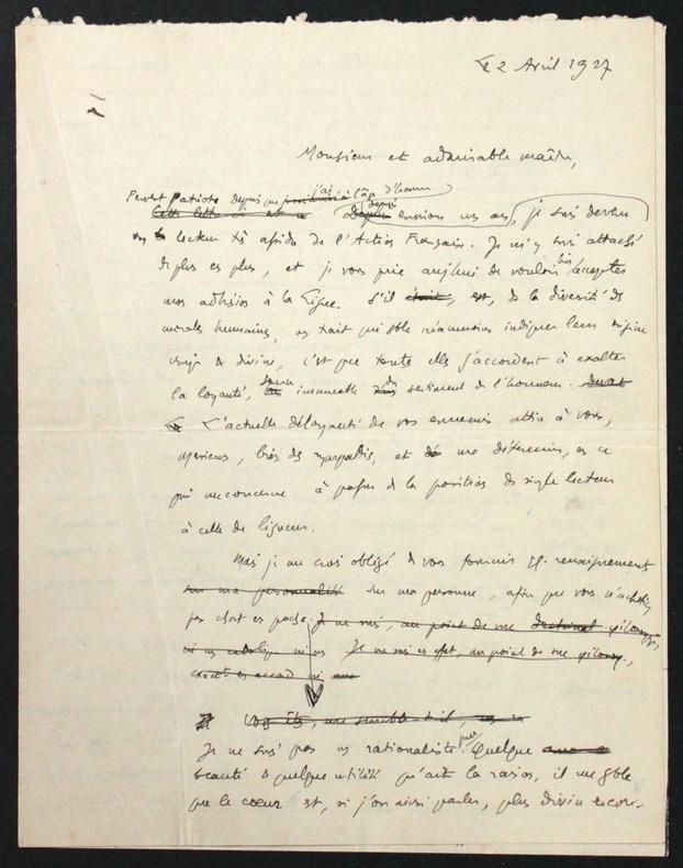 [Manuscrit autographe signé] Brouillon de lettre à Charles Maurras pour demander son adhésion à l'Action française. Pichon, Edouard (1890-1940, ...