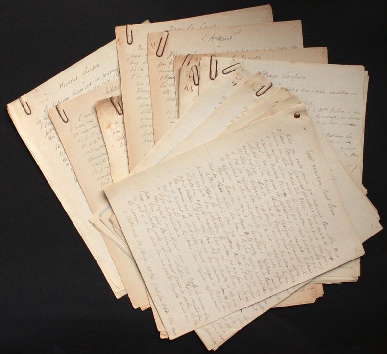 """[Manuscrits autographes et tapuscrits inédits] Contes et autres textes courts : """"Anecdotes vraies"""", """"De plus en plus vrai"""", """"Tout aussi vrai qu'autre ..."""