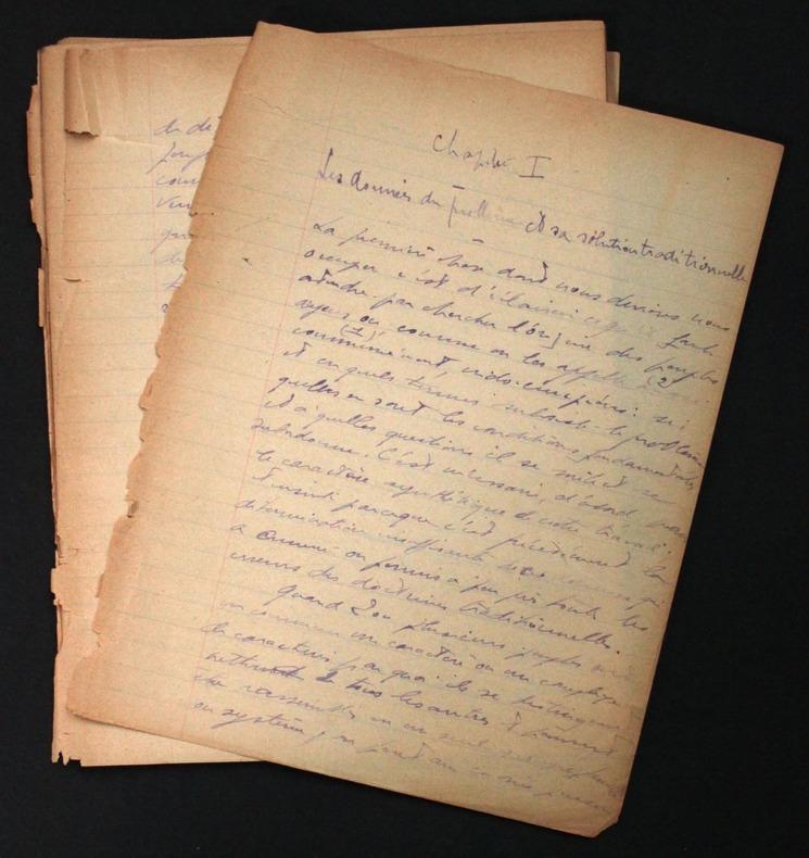 [Manuscrit autographe inédit] Début d'un travail sur les langues indo-européennes. Damourette, Jacques (1873-1943, grammairien français)