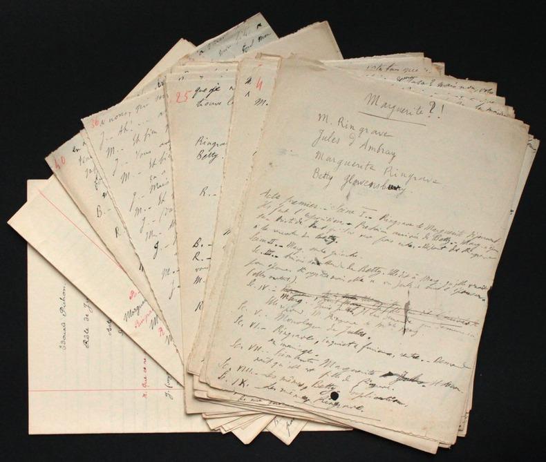 """[Manuscrit autographe inédit] """"Marguerite ?!, comédie en 2 actes"""". Damourette, Jacques (1873-1943, grammairien français)"""