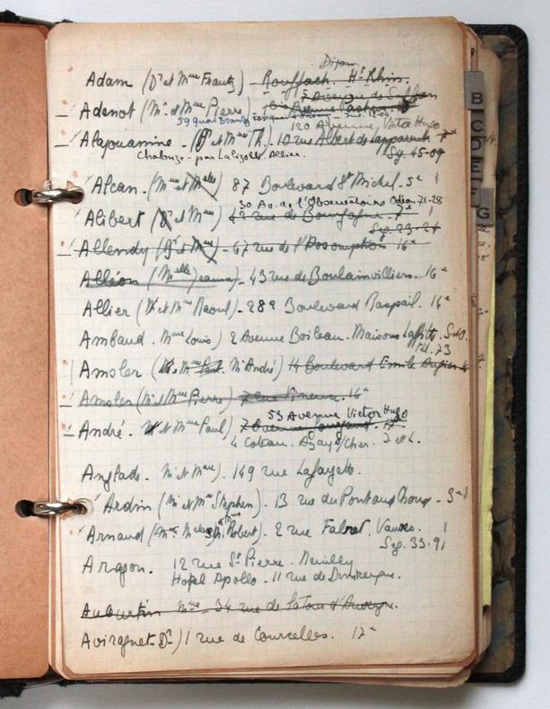 Carnet d'adresses. Pichon, Edouard (1890-1940, médecin, psychanalyste et grammairien français)