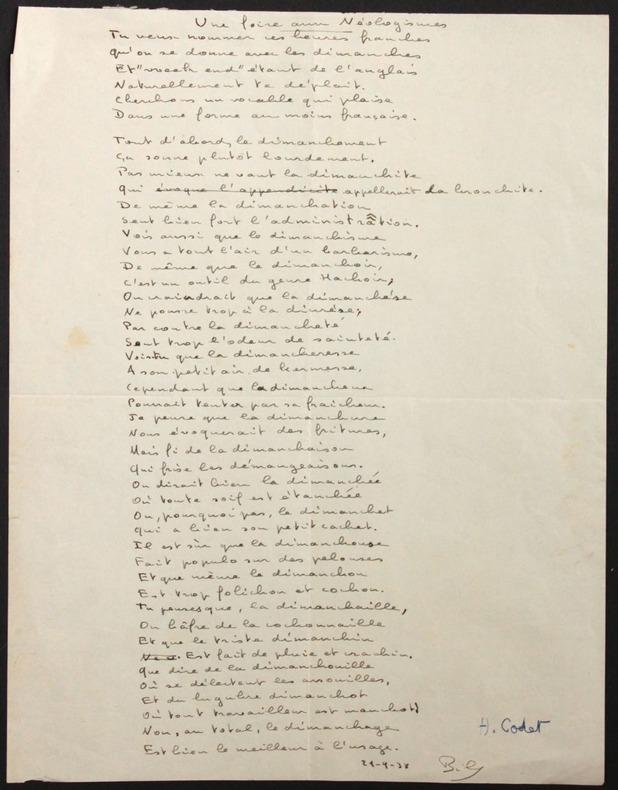 """Poème autographe (signé """"Bily"""") : """"Une foire aux néologismes"""". Codet, Henri (1889-1939, psychiatre et psychanalyste français)"""