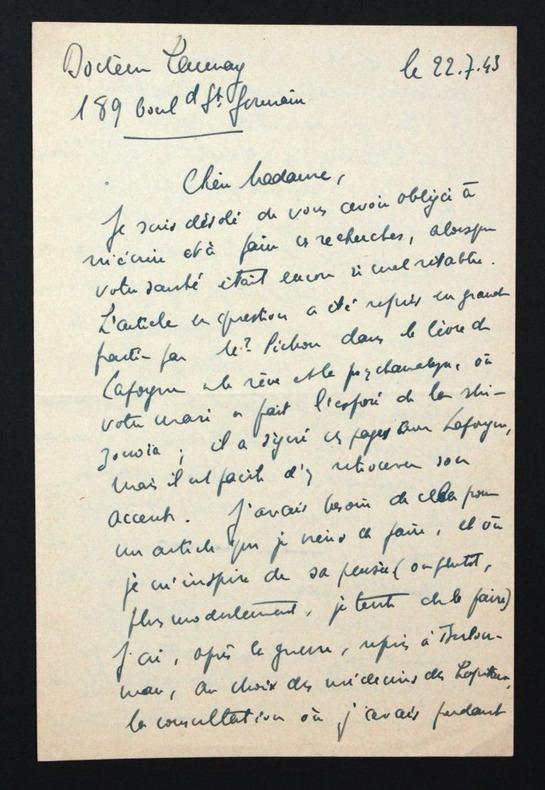 Lettre autographe signée à Hélène Pichon-Janet à propos d'Edouard Pichon. Launay, Clément (1901-1992, pédiatre et pédo-psychiatre français)