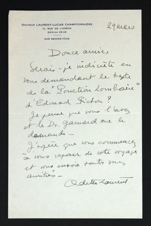 Lettre autographe signée à Hélène Pichon-Janet. Laurent-Lucas-Championnière, Odette (1892-1964, médecin et psychanalyste française)