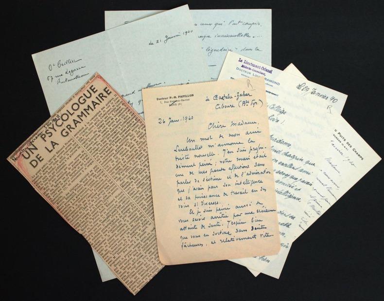Ensemble de lettres de condoléances reçues par Hélène Pichon-Janet suite au décès d'Edouard Pichon, et nécrologies. [Pichon, Edouard (1890-1940, ...