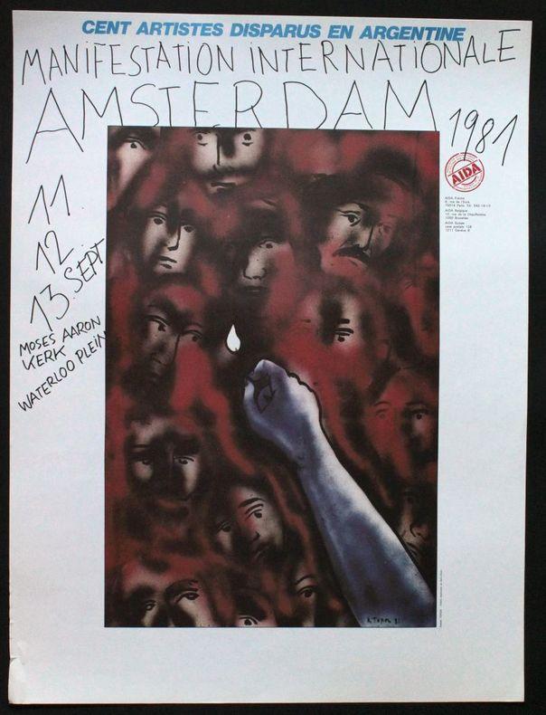 Cent artistes disparus en Argentine. Manifestation internationale, Amsterdam, 11, 12, 13 septembre 1981. AIDA.. [Affiche] Topor, Roland