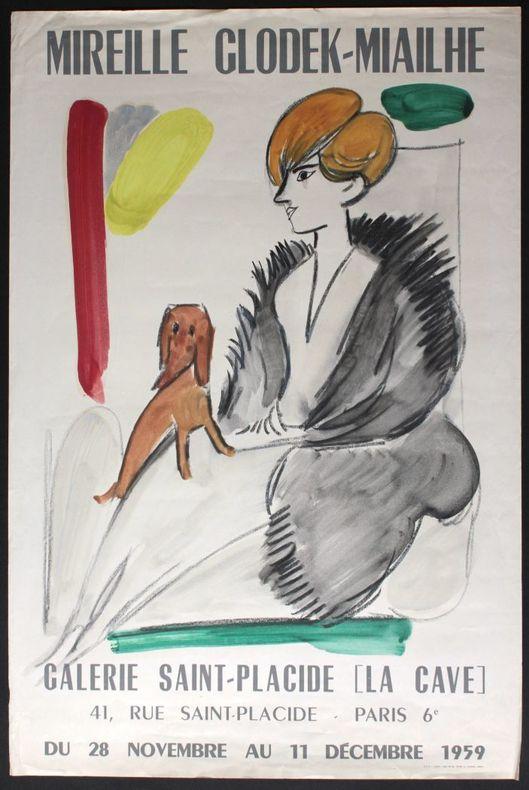 Mireille Glodek-Miailhe : Galerie Saint-Placide [La Cave], Paris du 28 novembre au 11 décembre 1959.. [Affiche en lithographgie réhaussée à ...