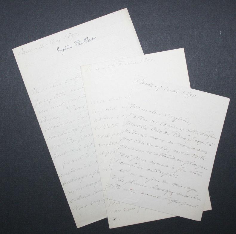 Trois lettres autographes d'Eugène Paillet[1] bibliophile, Président des Amis des Livres, à Octave Uzanne (1890).. Eugène Paillet