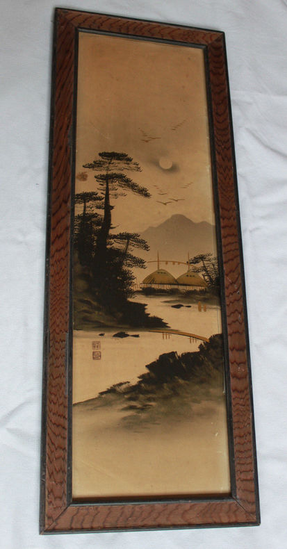 Dessin paysage japonais encre de chine or Art traditionnel Japon Signé Asia.