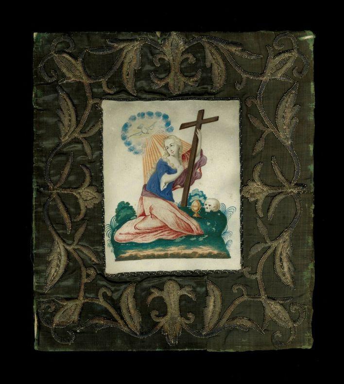 Objet de piété  iconographie religieuse populaire Marie Madeleine Magdala Magdaléenne Vélin.