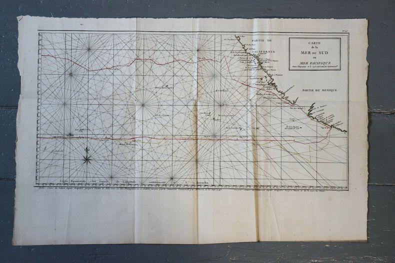 1750 Antique Map Carte géographique Mer Sud Pacifique Anson Superbe California.
